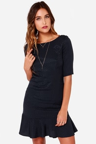 Darling Thea Navy Blue Dress at Lulus.com!