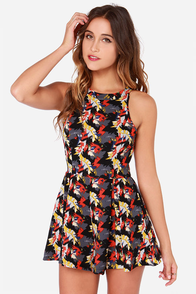 Central Perk Grey Print Romper at Lulus.com!