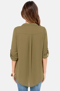 Hide and Chic Olive Green Top at Lulus.com!