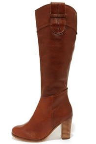 Diba True Connect Tion Tan Leather Knee High Heel Boots at Lulus.com!
