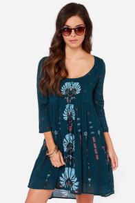 O'Neill Margaret Dark Teal Floral Print Dress at Lulus.com!