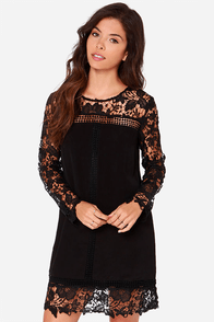 Take Me There Black Long Sleeve Lace Dress at Lulus.com!
