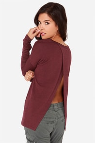 Call Me Back Washed Burgundy Sweater at Lulus.com!