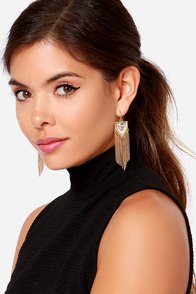 Tassel Guards Gold Chain Earrings at Lulus.com!