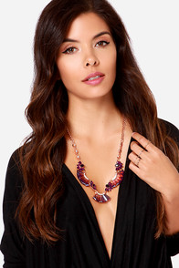 Iridescent Daze Purple Rhinestone Statement Necklace at Lulus.com!