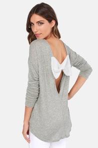 The Bow Monde Long Sleeve Grey Top