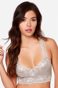 Boudoir You Mine? Grey Lace Bra at Lulus.com!