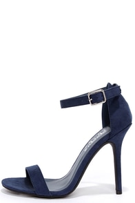 LuLu*s Elsi Navy Blue Single Strap Heels at Lulus.com!