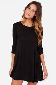 LULUS Exclusive Right Now Black Swing Dress at Lulus.com!