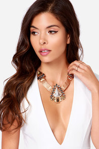 The Gatekeeper Gold Rhinestone Statement Necklace at Lulus.com!