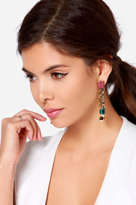 Divine Aura Peach Rhinestone Earrings at Lulus.com!