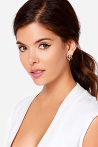 Rained All Night Peach Rhinestone Earrings at Lulus.com!