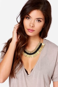 Wings of Love Gold Feather Necklace at Lulus.com!