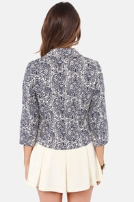 Business Overseas Blue Floral Print Blazer at Lulus.com!