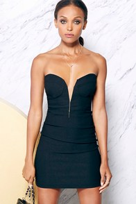 Rolling in the Deep V Black Strapless Dress at Lulus.com!