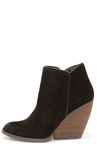 Very Volatile Whitby Black Suede Leather Wedge Booties at Lulus.com!