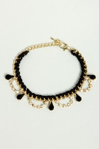 Chain on the Brain Gold and Black Bracelet at Lulus.com!