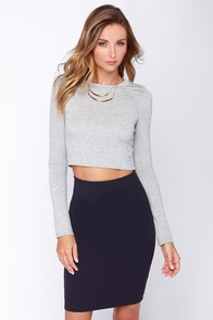 Spell Chic Navy Blue Pencil Skirt at Lulus.com!