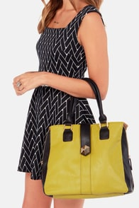 Purse-ing School Black and Chartreuse Handbag at Lulus.com!