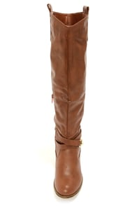 Bamboo Parksville 21 Chestnut Brown Belted Riding Boots at Lulus.com!