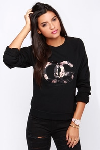 Obey Parker Crew Black Sweatshirt at Lulus.com!