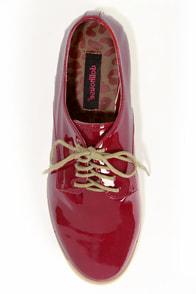Dollhouse Dapper Crimson Red Patent Oxford Flats at Lulus.com!