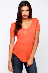 Obey Patti Orange Scoop Neck Tee at Lulus.com!