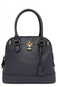 Lock-Smitten Navy Blue Handbag at Lulus.com!