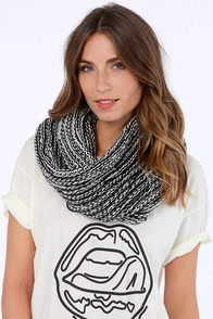 Costa Blanca Totally Twisted Ivory and Black Infinity Scarf at Lulus.com!