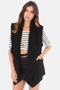 Obey Mojave Black Faux Fur Vest at Lulus.com!