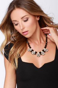 Oh My Love Black Rhinestone Statement Necklace at Lulus.com!