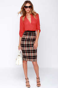 Paper Shuffler Black and Beige Plaid Pencil Skirt at Lulus.com!