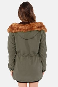 Obey Knights Bridge Hooded Olive Green Parka at Lulus.com!