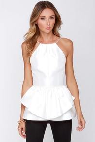 LULUS Exclusive Evening Entourage Ivory Peplum Top at Lulus.com!