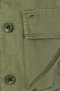 Obey Garrison Hooded Army Green Military Jacket at Lulus.com!