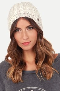 Roxy Trinket Sparkle Ivory Beanie at Lulus.com!