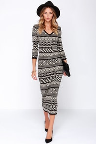 Mark Your Mayan Calendar Black and Beige Print Sweater Dress at Lulus.com!