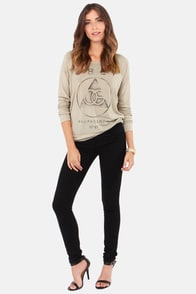 Obey Vintage OG Beige Sweater Top at Lulus.com!