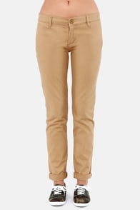RVCA Unwind Tan Cropped Pants at Lulus.com!