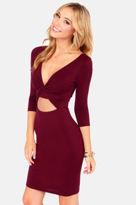 Twist Magic Moment Burgundy Dress at Lulus.com!