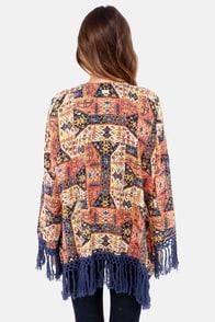 RVCA Lycia Blue Print Kimono Top at Lulus.com!