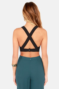 Go the X-tra Mile Black Crop Top at Lulus.com!