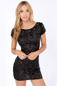 Into the Stardust Black Sequin Dress at Lulus.com!