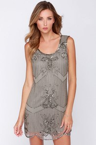 Raga Patternalia Taupe Beaded Dress at Lulus.com!