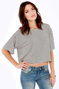 My Favorite Band Black and Cream Striped Top at Lulus.com!