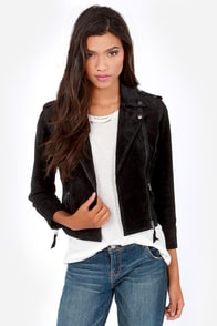 Obey Hitch Hiker Black Suede Leather Motorcycle Jacket at Lulus.com!