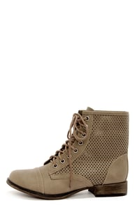 Georgia 45 Beige Perforated Lace-Up Ankle Boots at Lulus.com!