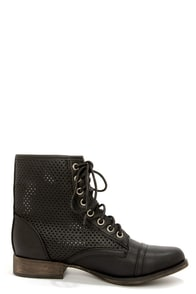 Georgia 45 Black Perforated Lace-Up Ankle Boots at Lulus.com!