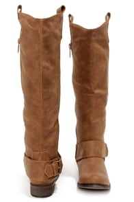 Rider 16 Tan Belted Riding Boots at Lulus.com!