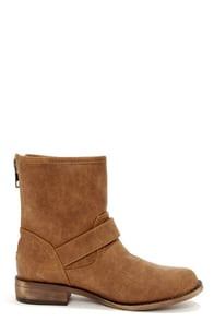 Fresno 11 Tan Buckled Mid-Calf Boots at Lulus.com!